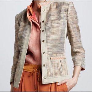 Elie Tahari Tan Orange Tweed Linen Blazer